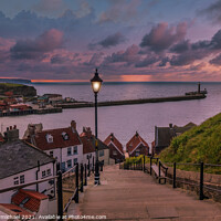 Buy canvas prints of Whitby 199 Cliffs at Sunset by Janet Carmichael