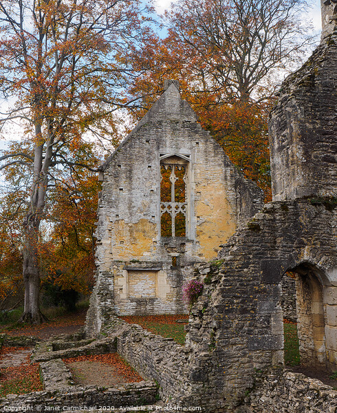 Minster Lovell Hall ruins in Autumn - Oxfordshire Framed Print by Janet Carmichael