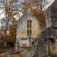 Buy canvas prints of Minster Lovell Hall ruins in Autumn - Oxfordshire by Janet Carmichael