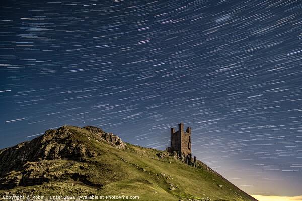 Dunstanburgh Castle Star Trail Framed Mounted Print by Robin Hunter