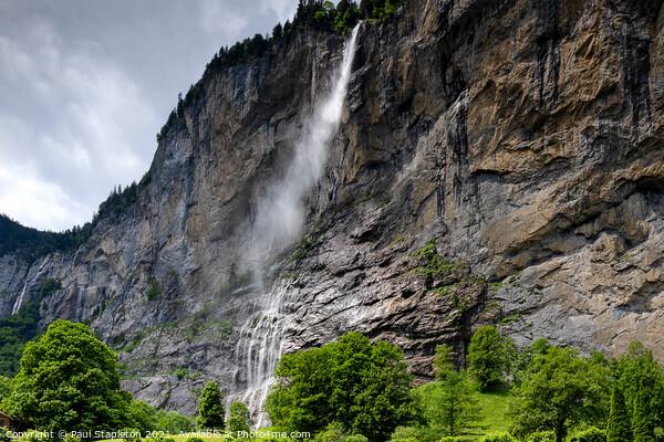 Lauterbrunnen Staubbach Waterfall Acrylic by Paul Stapleton