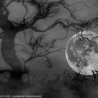 Buy canvas prints of Spooky Woods at Full Moon by Geoff Smith