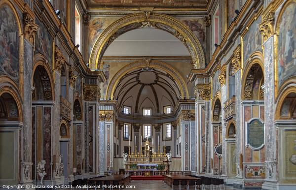 Interior of the Basilica di San Paolo Maggiore - Napoli Canvas Print by Laszlo Konya
