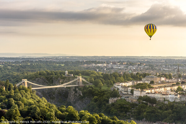 Hot Air Balloon over Clifton Print by Patrick Metcalfe
