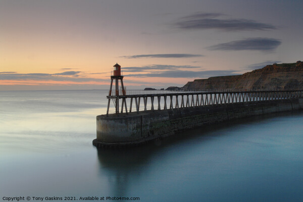 Sunrise, East Pier, Whitby North Yorkshire Framed Mounted Print by Tony Gaskins