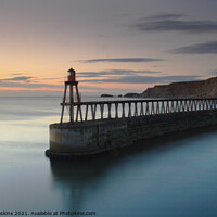 Buy canvas prints of Sunrise, East Pier, Whitby North Yorkshire by Tony Gaskins