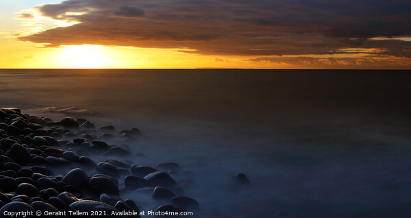 Looking towards Lundy Island from the beach at Westward Ho!, North Devon, England, UK Canvas Print by Geraint Tellem ARPS