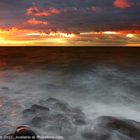 Buy canvas prints of Sunset over The Atlantic Ocean and Lundy Island from Westward Ho!, Devon, England, UK by Geraint Tellem ARPS