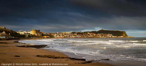 Scarborough panoramic sea front on a stormy day 20 Framed Mounted Print by PHILIP CHALK