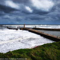 Buy canvas prints of Whitby pier wall art on the Yorkshire east coast. 469 by PHILIP CHALK