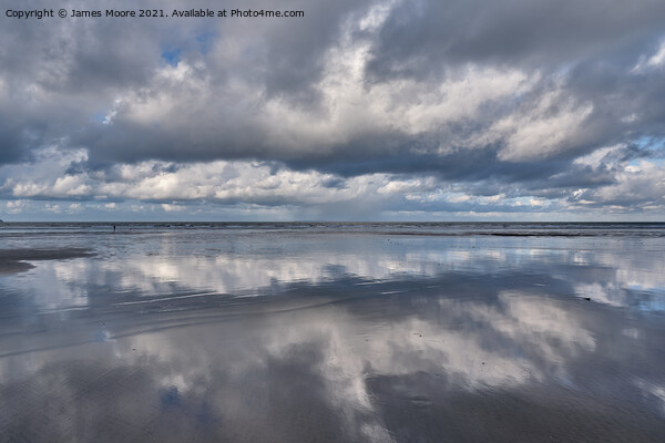 Reflections on Westward Ho! beach Canvas Print by James Moore