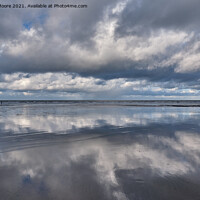 Buy canvas prints of Reflections on Westward Ho! beach by James Moore