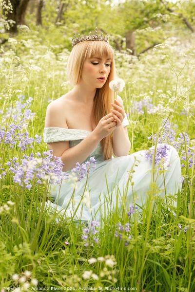 Woman Blowing Dandelions Print by Amanda Elwell
