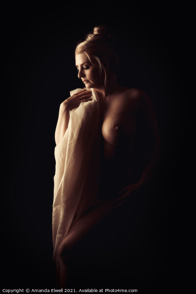 Art Nude Female Form Framed Mounted Print by Amanda Elwell