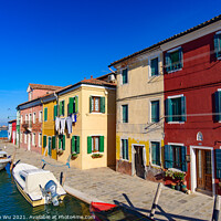 Buy canvas prints of Burano island, famous for its colorful fishermen's houses, in Venice, Italy by Chun Ju Wu