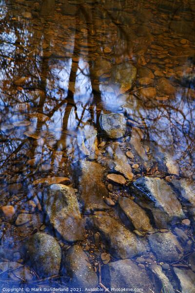 Reflection in Hebden Water Framed Print by Mark Sunderland