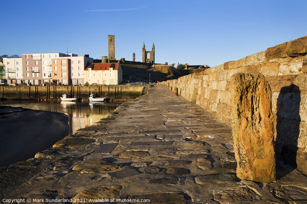 Harbour and Cathedral St Andrews Fife Scotland Print by Mark Sunderland