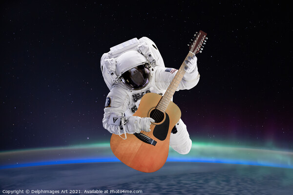 Space guitar Print by Delphimages Art