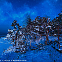 Buy canvas prints of Nighttime winter scene near sea coast by Maria Vonotna