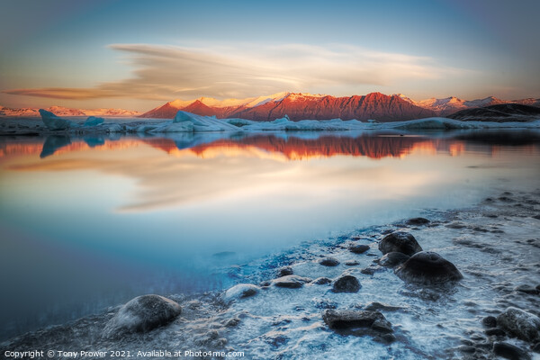 Frozen Shore Framed Print by Tony Prower