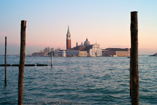 San Giorgio Maggiore in Venice in the Evening  Print by Dietmar Rauscher