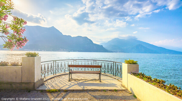Bench Lake Como. Bellagio Canvas Print by Stefano Orazzini
