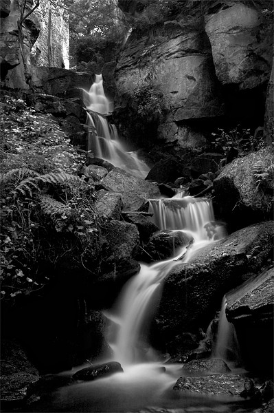 Lumsdale Falls in Black and White Canvas Print by Simon Gladwin