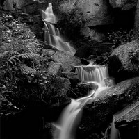 Buy canvas prints of Lumsdale Falls in Black and White by Simon Gladwin