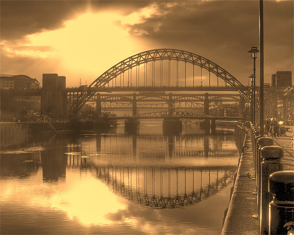 Sepia Tyne Canvas print by George Young