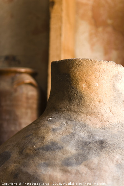 Israel, Achziv, Ancient clay pots on display Canvas Print by PhotoStock Israel
