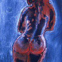 Buy canvas prints of painting of a nude woman with blue background  by PhotoStock Israel