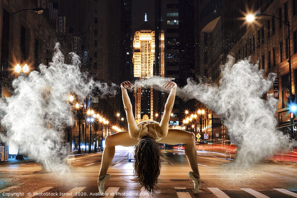 Powder dancing in an urban background  Framed Mounted Print by PhotoStock Israel