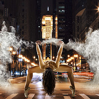 Buy canvas prints of Powder dancing in an urban background  by PhotoStock Israel