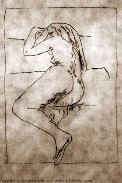 sketch of a nude woman lying  Canvas Print by PhotoStock Israel