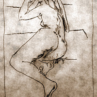 Buy canvas prints of sketch of a nude woman lying  by PhotoStock Israel