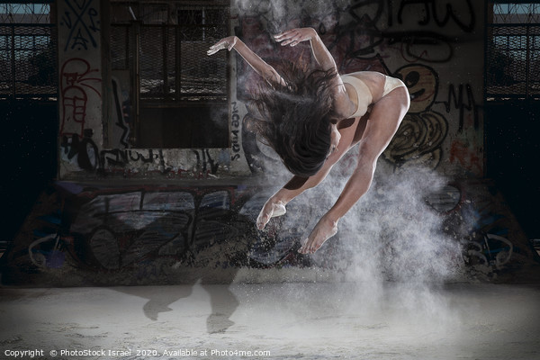 Ballet dancer jumps in flour  Framed Mounted Print by PhotoStock Israel