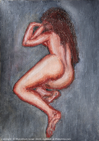 painting of a nude woman lying on her side  Canvas Print by PhotoStock Israel