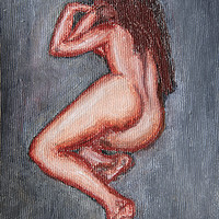 Buy canvas prints of painting of a nude woman lying on her side  by PhotoStock Israel