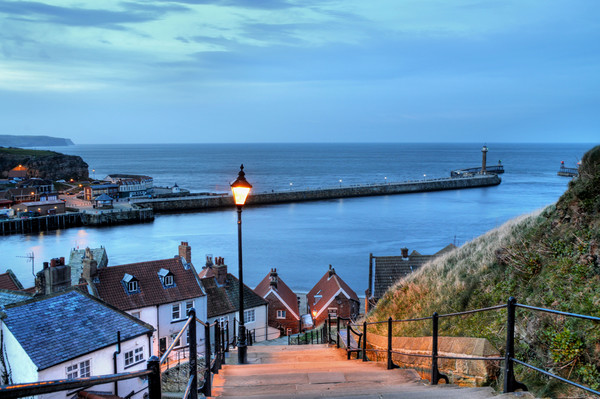 Whitby After Sun Down Canvas print by Sarah Couzens