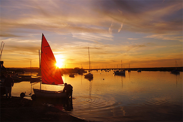 Norfolk Staithe, Red Sail and Sunset Canvas print by John R Gibson
