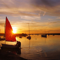 Buy canvas prints of Norfolk Staithe, Red Sail and Sunset by John R Gibson