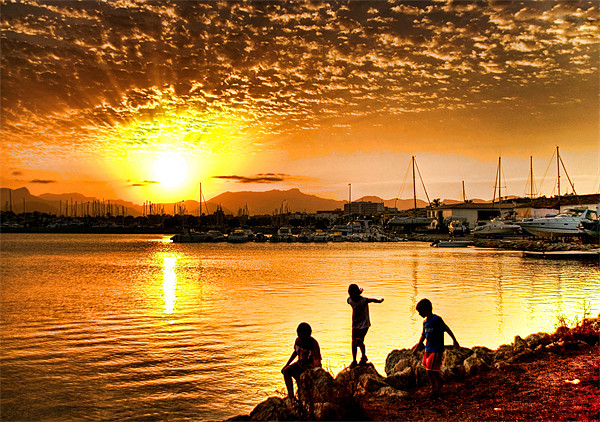 Alcudia Sunset Print by Fee Easton