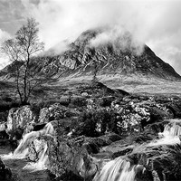 Buy canvas prints of Buachaille Etive Mor black and white by Jacqi Elmslie