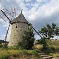 Buy canvas prints of Old Windmill at Cucugnan, France by Jacqi Elmslie