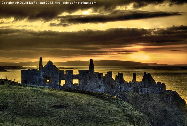 Dunluce Castle Sunset Canvas Print by David McFarland