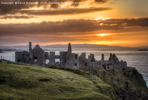 the day ends at Dunluce Castle Canvas print by David McFarland