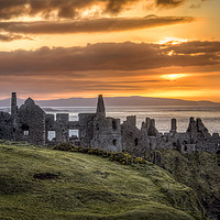 Buy canvas prints of the day ends at Dunluce Castle by David McFarland