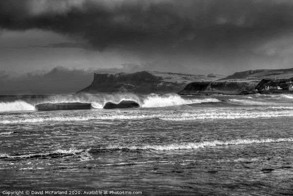 Winter storm over Ballycastle Canvas Print by David McFarland