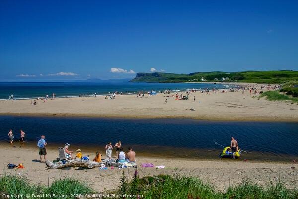 Bathing on the Margy River at Ballycastle Canvas Print by David McFarland
