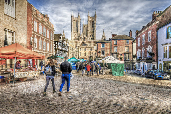 Lincoln Market and Cathedral Canvas print by Martin Parkinson